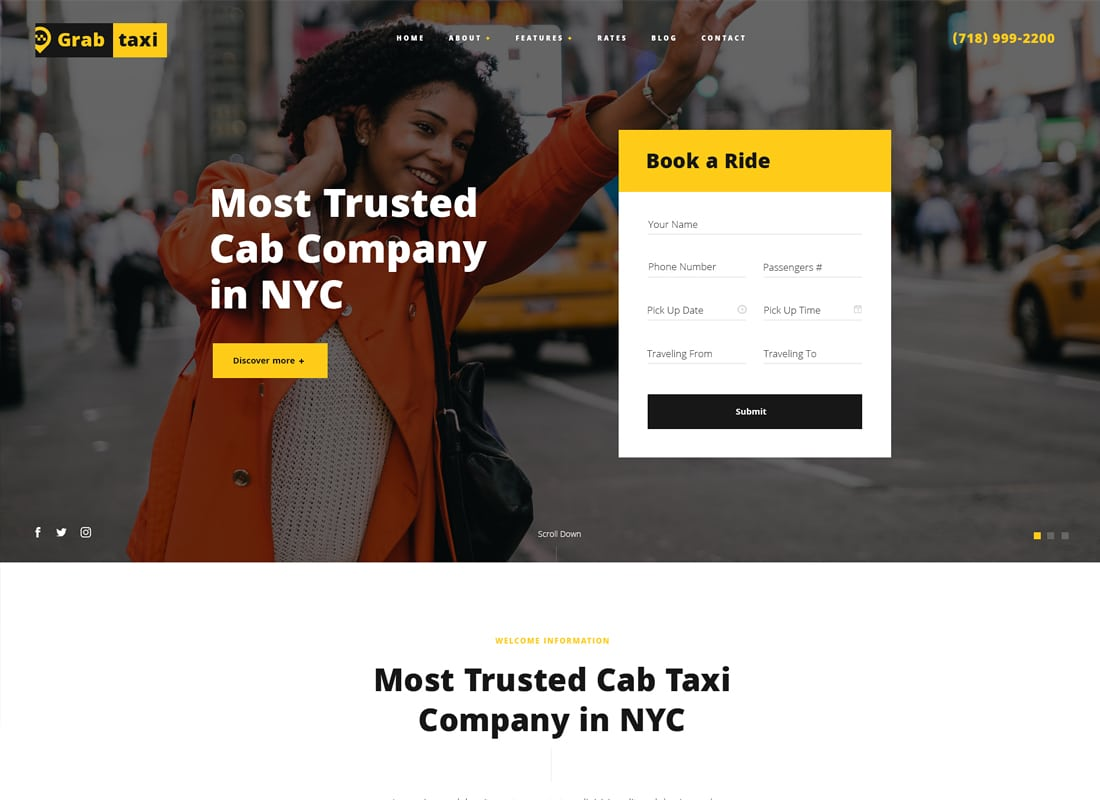 Grab Taxi | Online Taxi Service WordPress Theme   Website Template