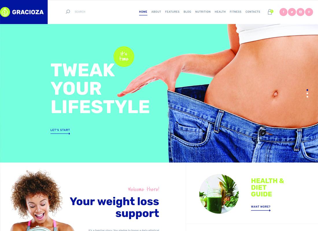 Gracioza | Weight Loss Company & Healthy Blog WordPress Theme Website Template