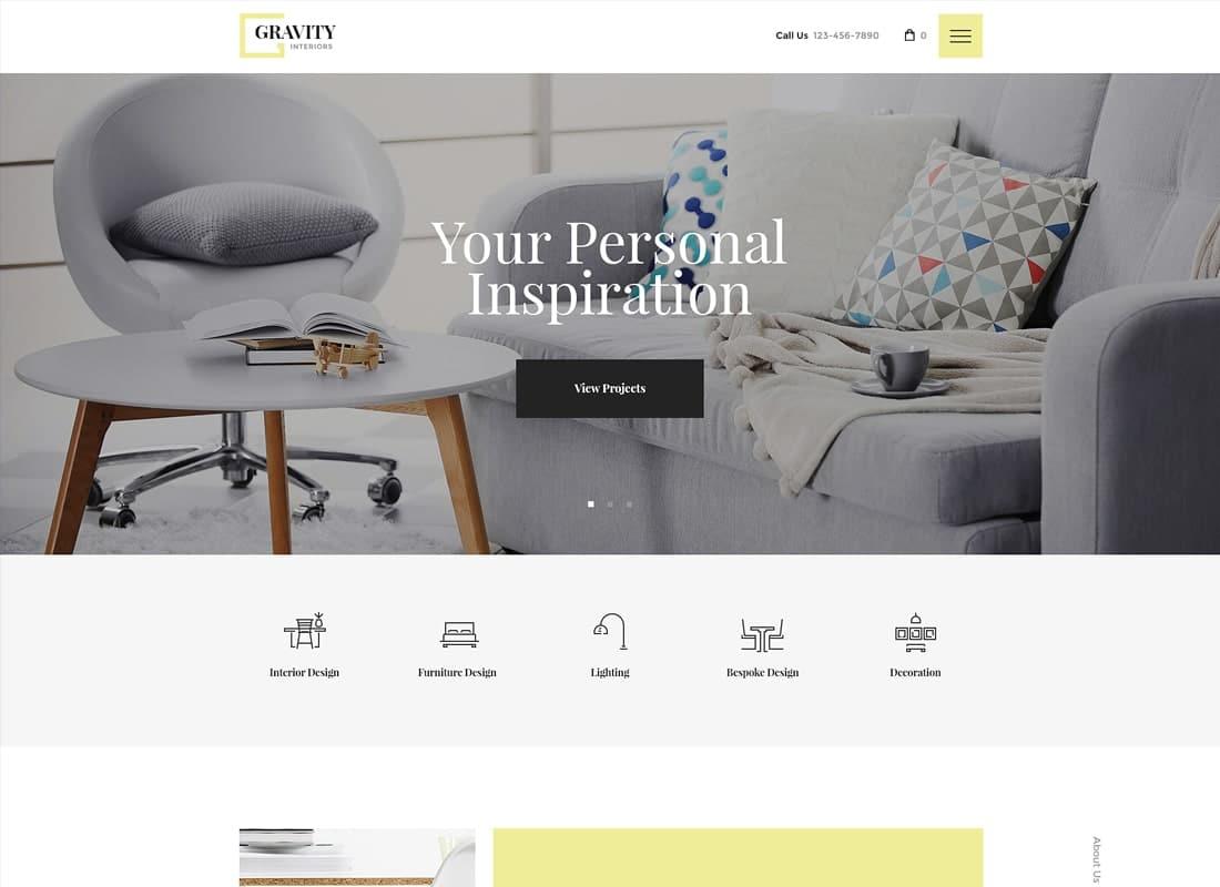 Gravity   A Contemporary Interior Design & Furniture Store WordPress Theme Website Template