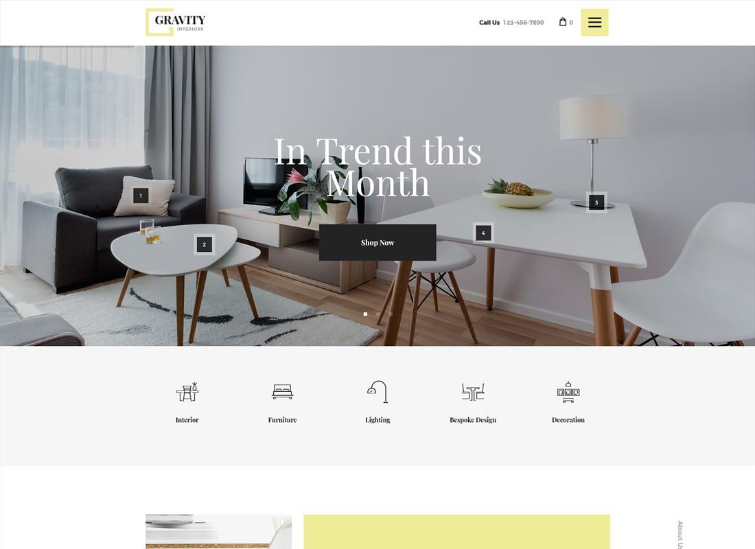 Gravity | A Contemporary Interior Design & Furniture Store WordPress Theme Website Template