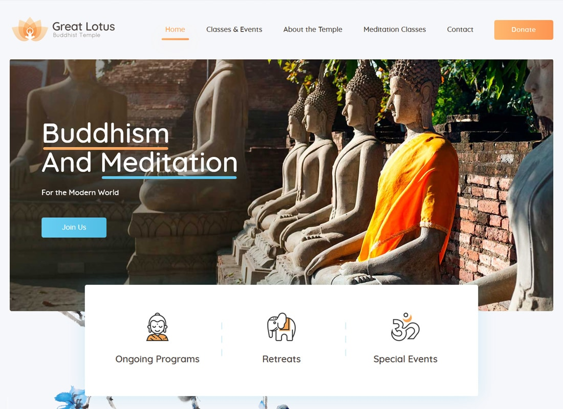 Great Lotus | Buddhist Temple WordPress Theme Website Template