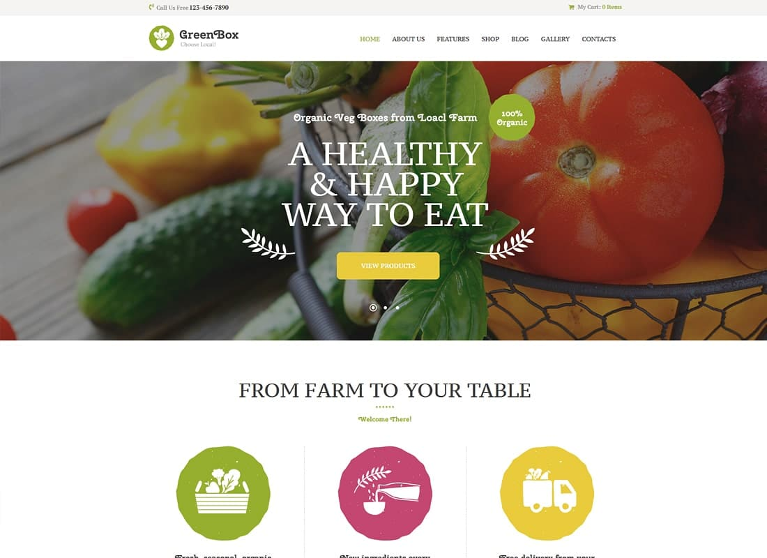 Green Box | Eco Farm & Organic Products Store WordPress Theme Website Template