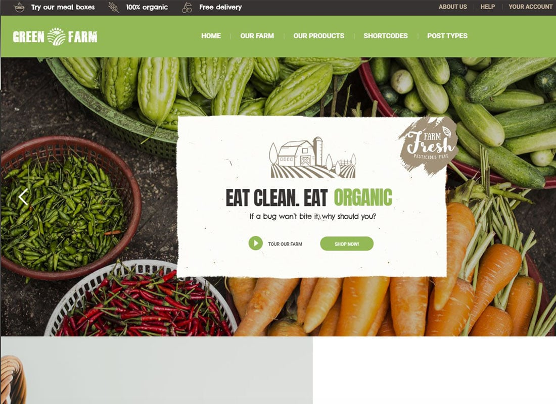 Green Farm - Organic Food Farm & Eco Food Store WordPress Theme Website Template