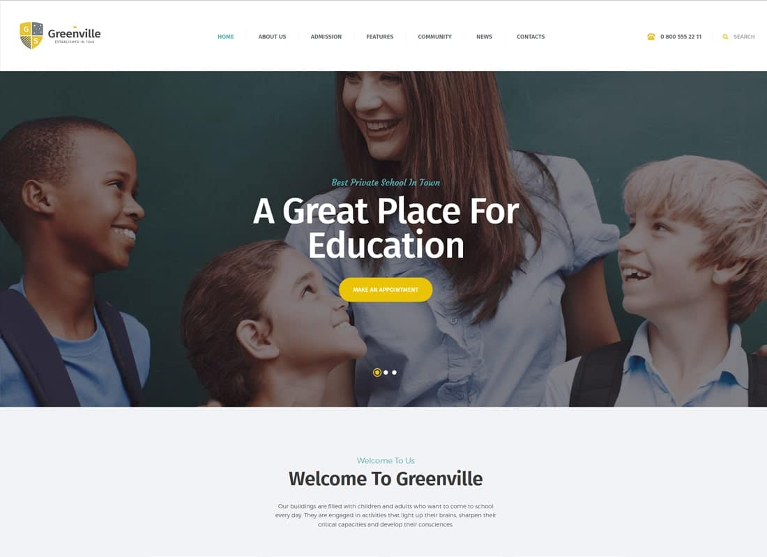 Greenville | A Private School WordPress Theme   Website Template