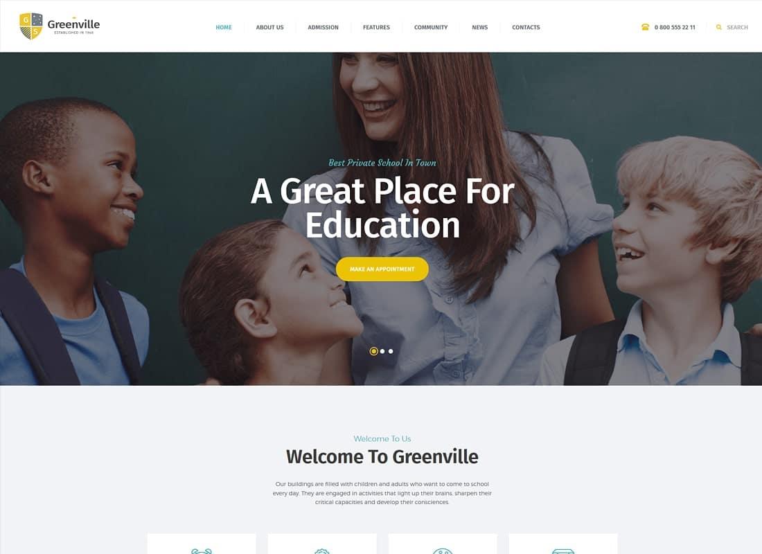 Greenville   A Private School WordPress Theme Website Template