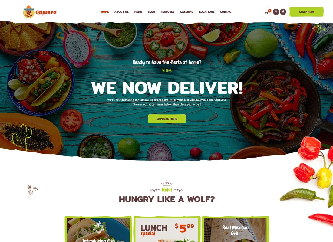 Gustavo | Mexican Grill, Bar & Restaurant WordPress Theme Website Template