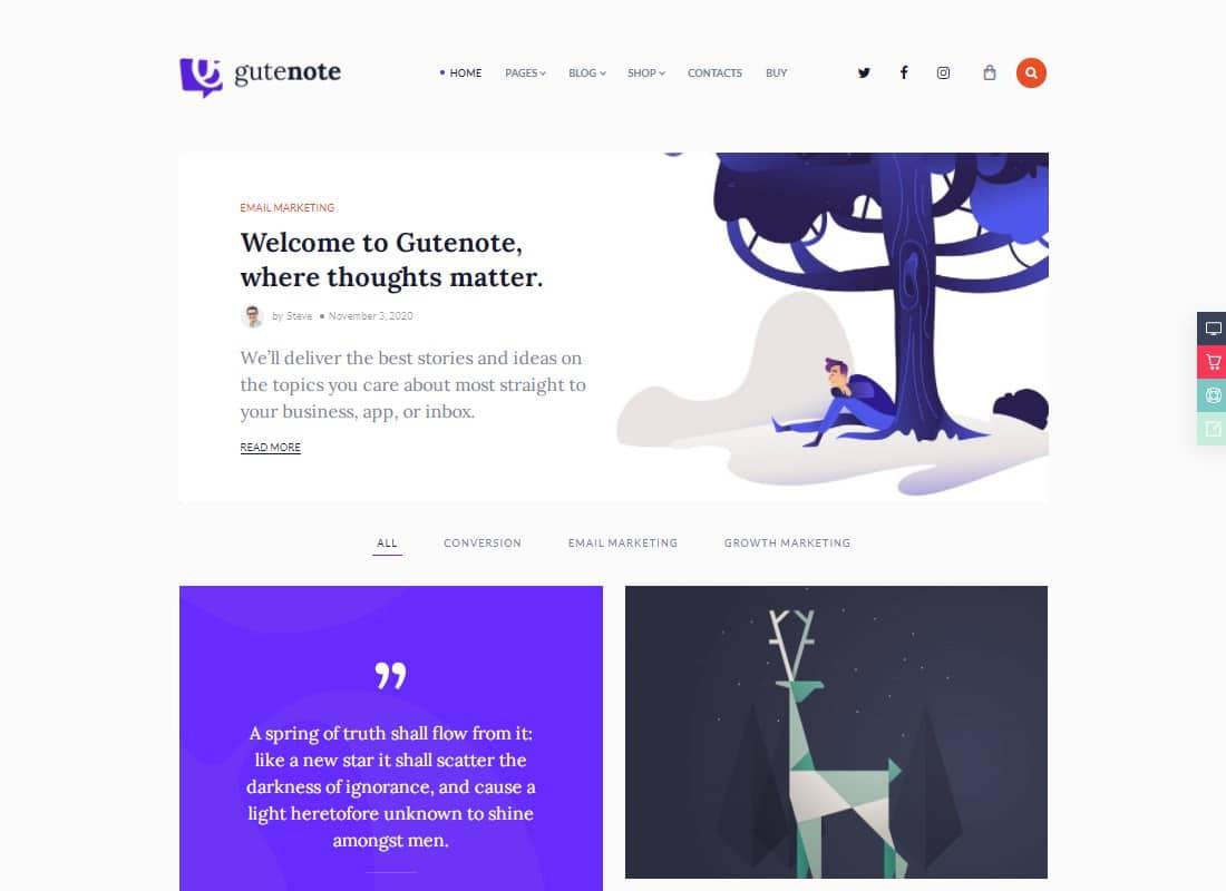 Gutenote - Gutenberg Blog  Website Template
