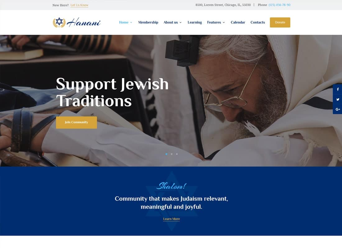 Hanani | Jewish Community & Synagogue WordPress Theme Website Template