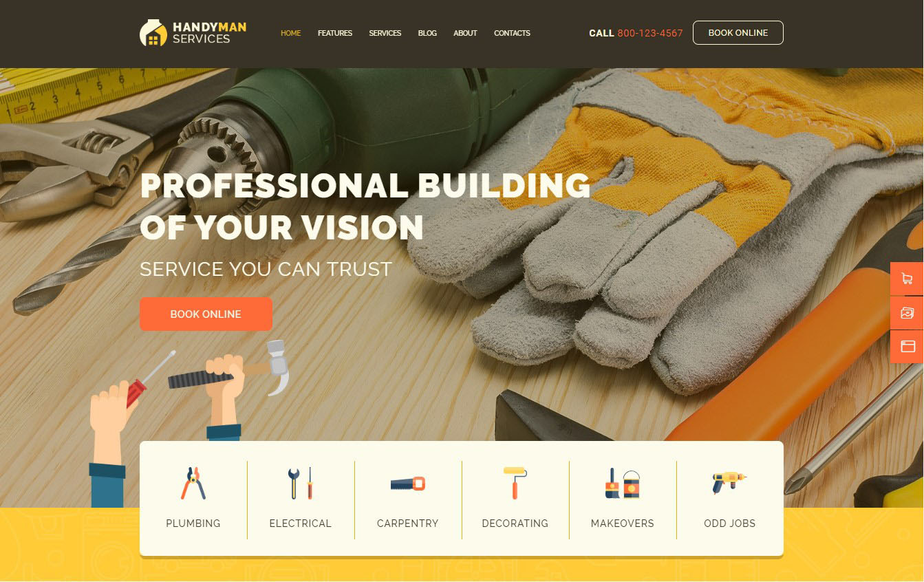 Handyman | Construction and Repair Services Building WordPress Theme Website Template