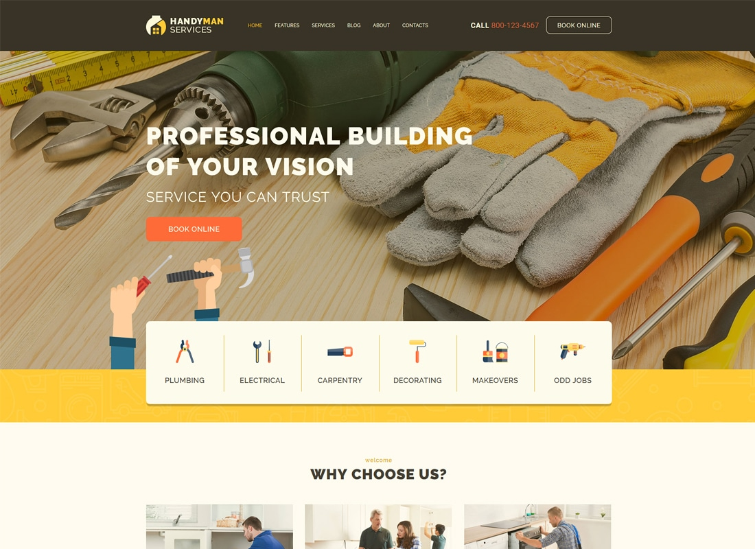 Handyman | Construction and Repair Services WordPress Theme Website Template