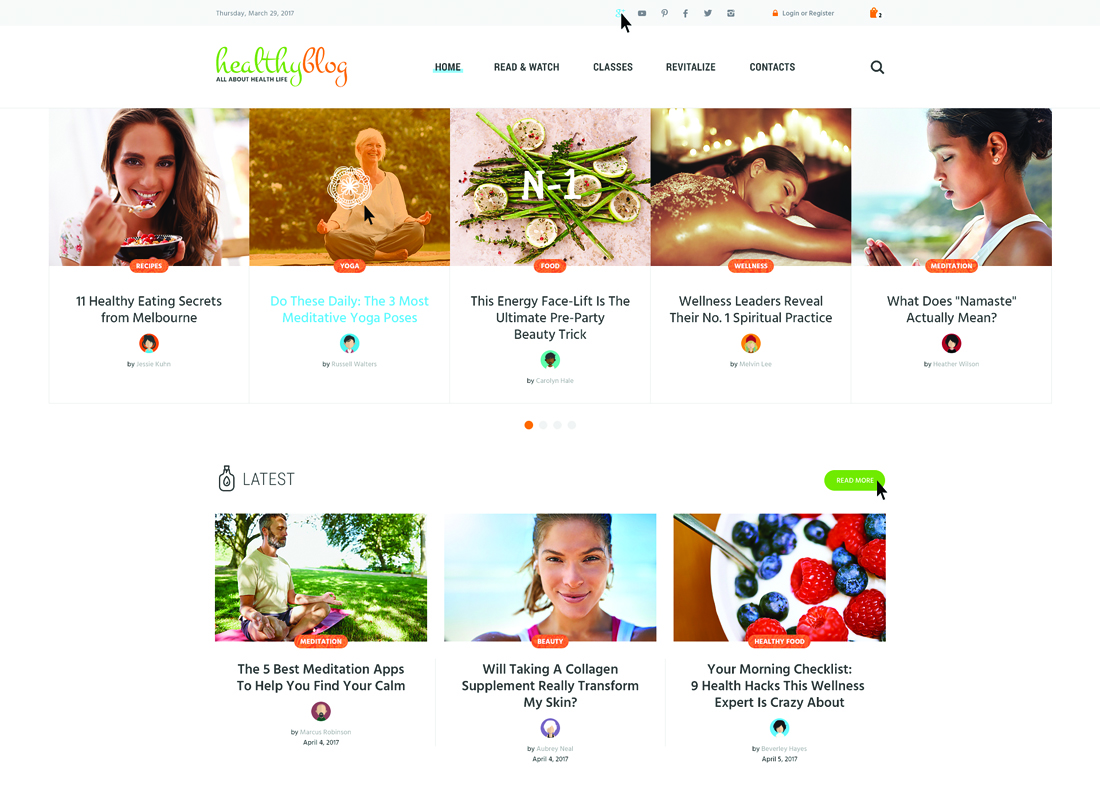 Healthy Living Blog | Healthy Blog with Online Store WordPress Theme Website Template