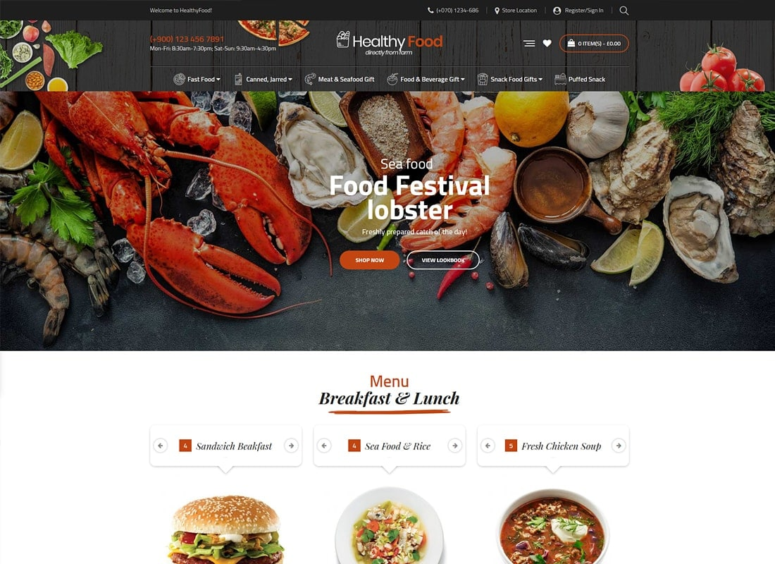 HealthyFood - Multipurpose WooCommerce Theme (RTL Supported) Website Template