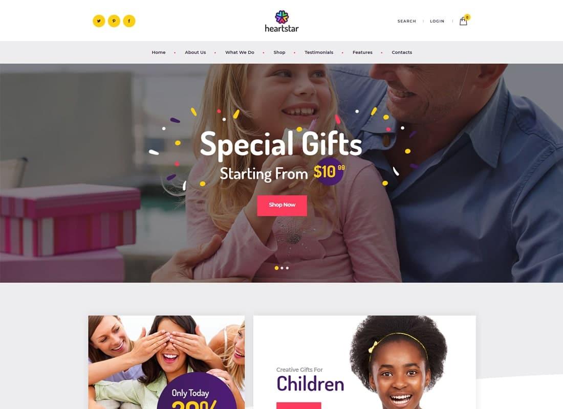 HeartStar | Gift Shop, Party & Event WordPress Theme Website Template