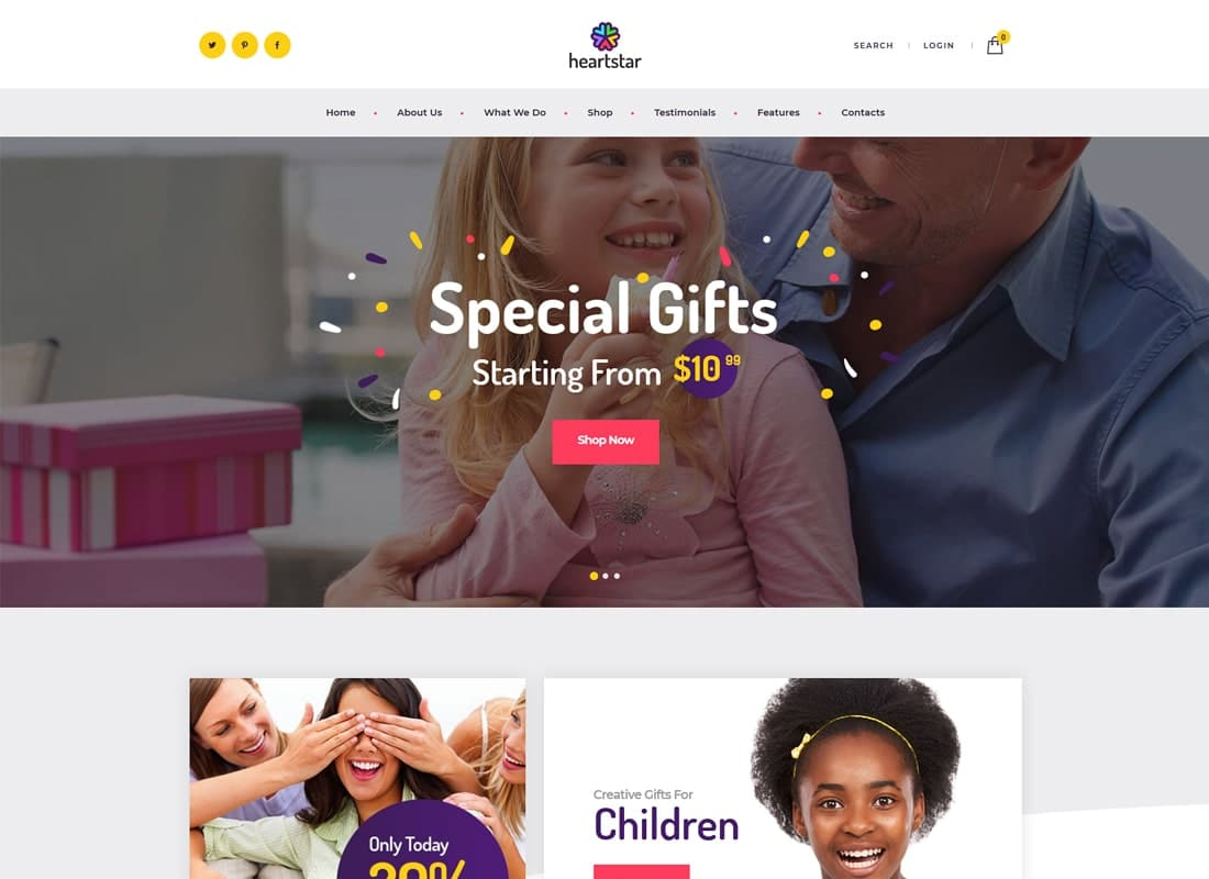 HeartStar | Gift Shop, Party & Event WordPress Theme Website Template