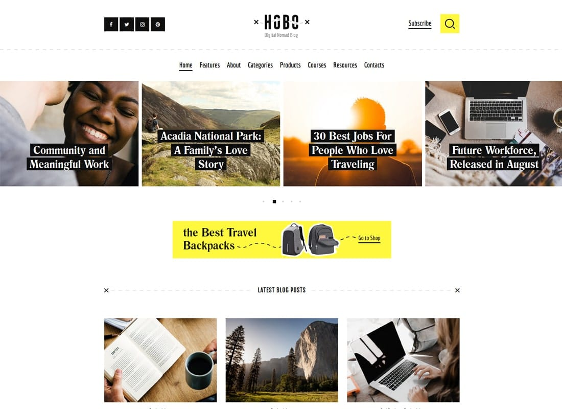 Hobo | Digital Nomad Lifestyle Blog WordPress Theme Website Template