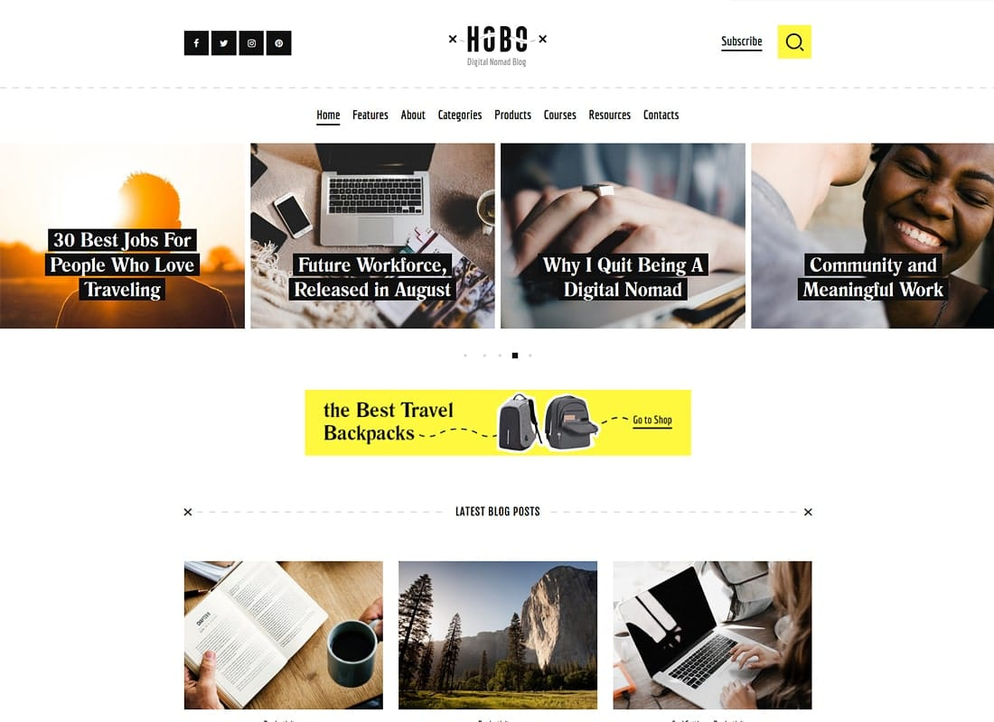 Hobo | Digital Nomad Travel Lifestyle Blog WordPress Theme Website Template