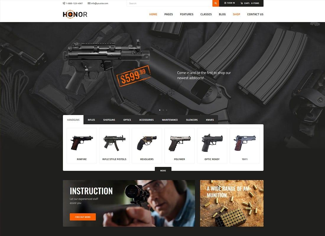 Honor | Shooting Club & Weapon Store WordPress Theme Website Template