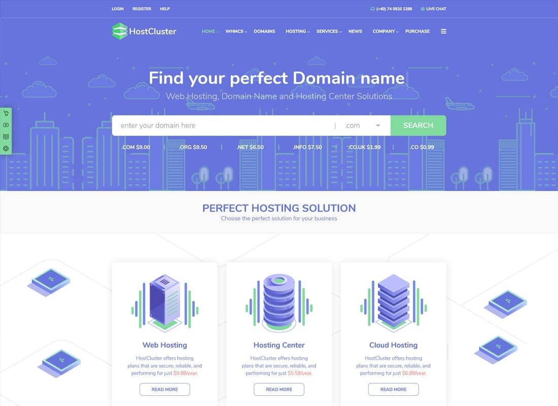 HostCluster - WHMCS Server & Hosting WordPress Theme Website Template