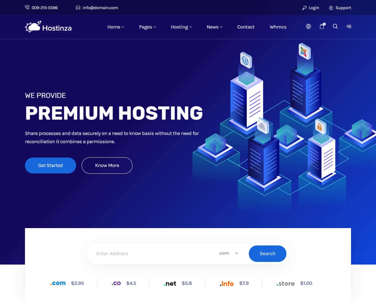 Top hosting templates to create your pro hosting website 2018 hostinza website template maxwellsz