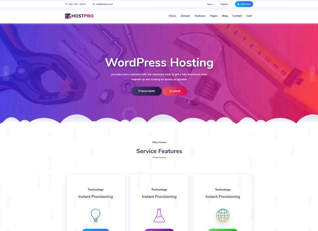 Hostpro - Responsive Hosting WordPress Theme  Website Template