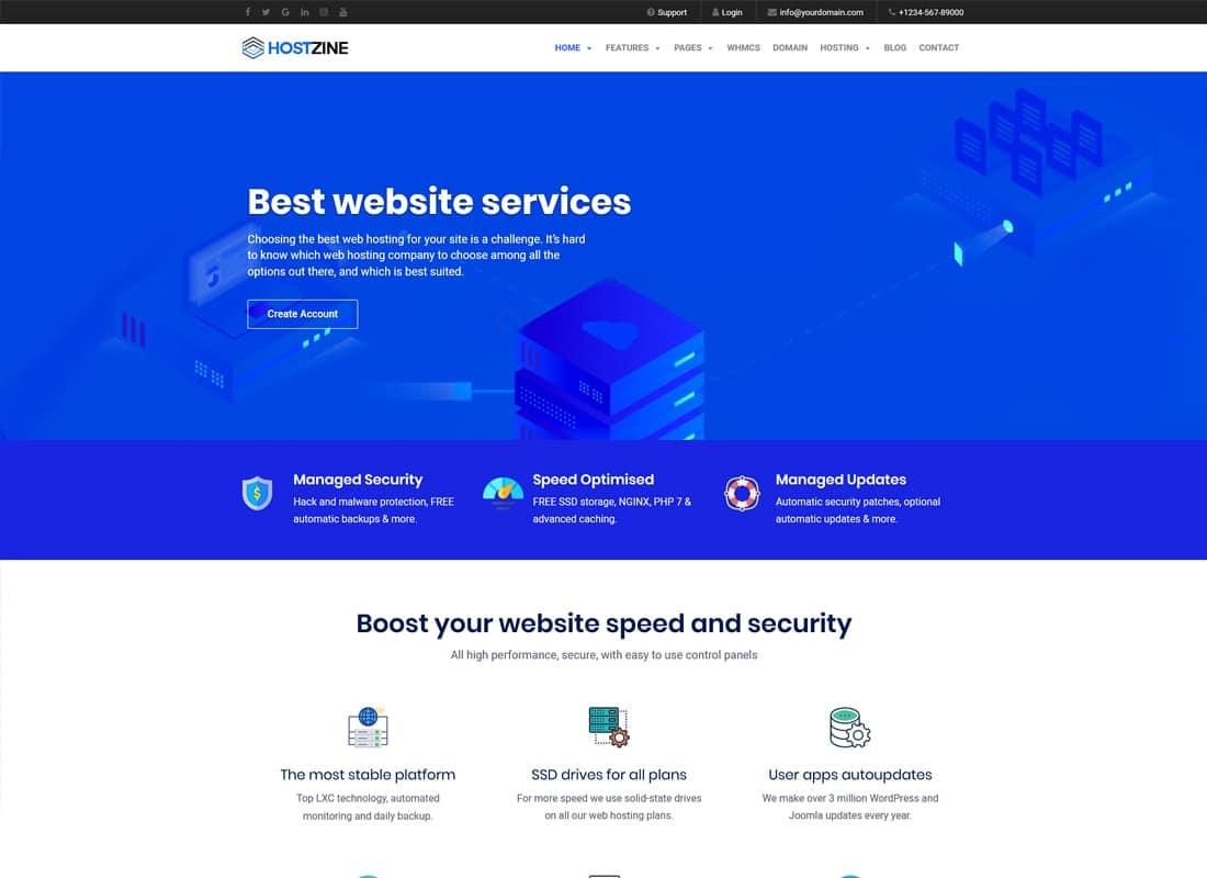 Hostzine - Hosting WordPress Theme Website Template