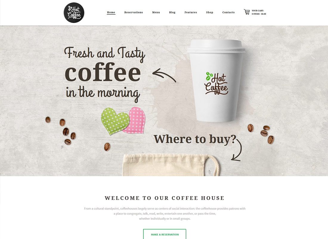 Hot Coffee | Cafe / Restaurant / Bar WordPress Theme Website Template