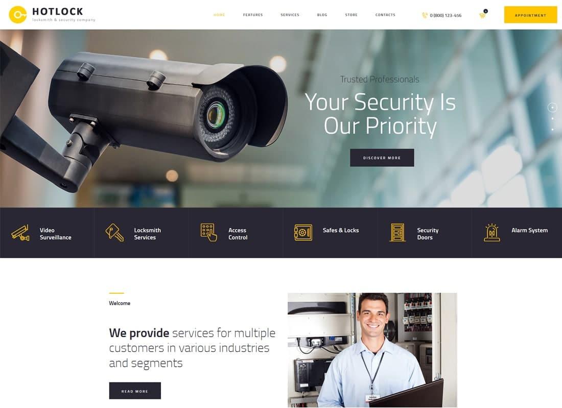 HotLock | Locksmith & Security Systems WordPress Theme Website Template