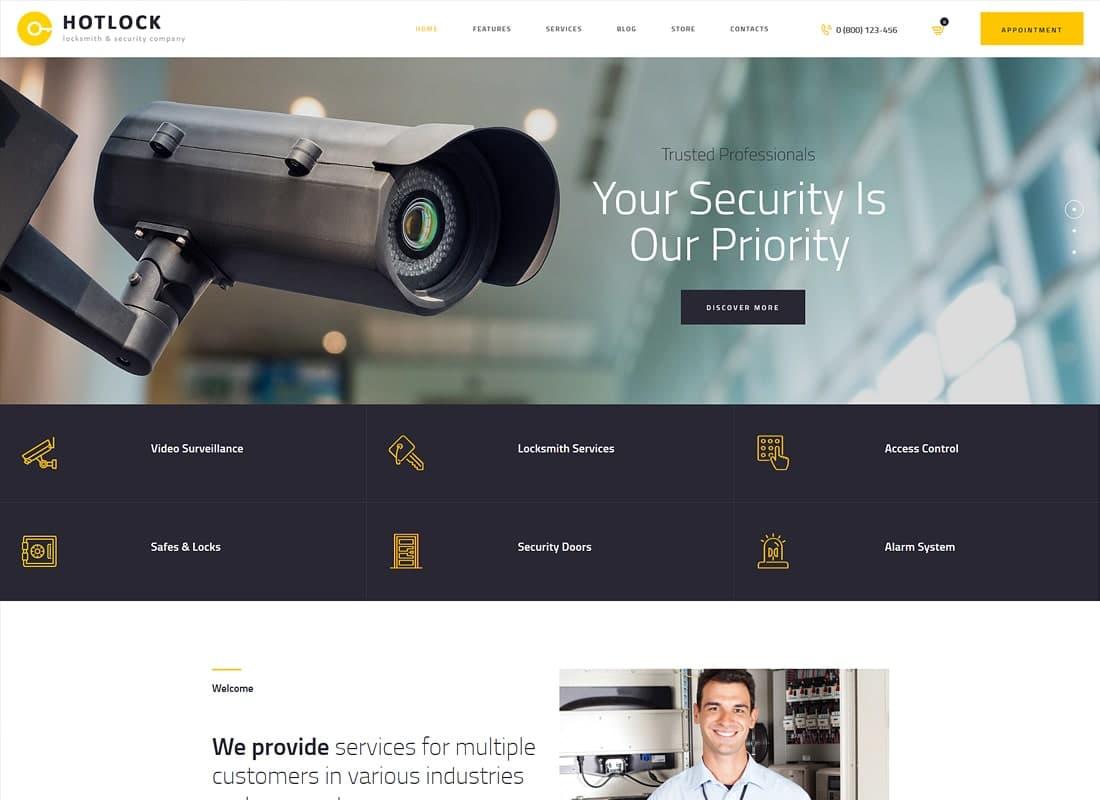 HotLock   Locksmith & Security Systems WordPress Theme Website Template