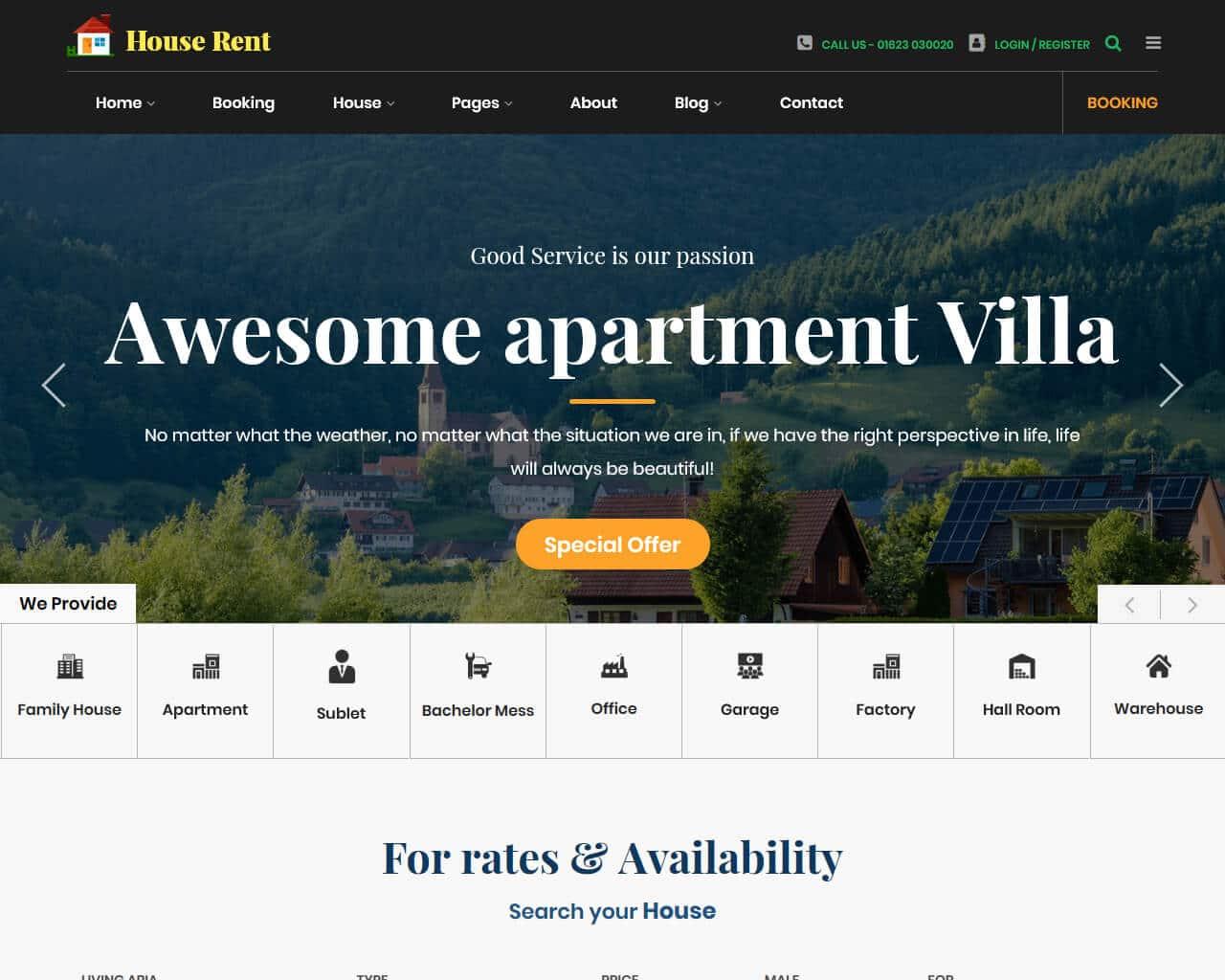 HouseRent Website Template