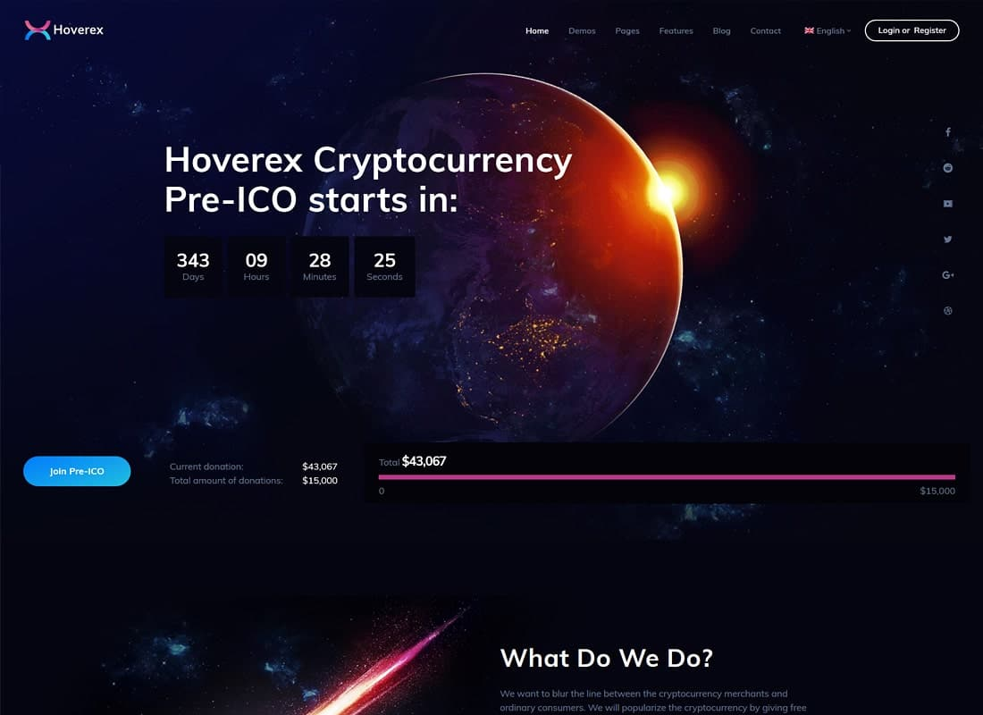 Hoverex | Cryptocurrency & ICO WordPress Theme + Spanish Website Template