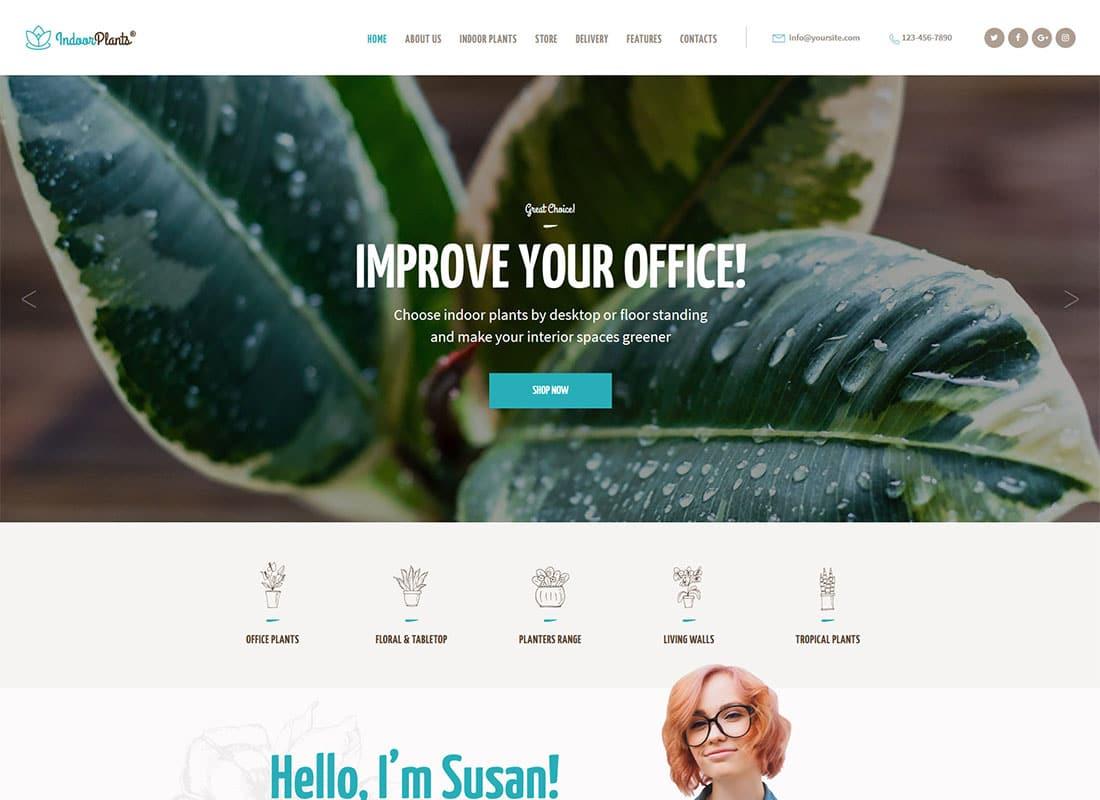 Indoor Plants | Houseplants store & Gardening WordPress Theme Website Template