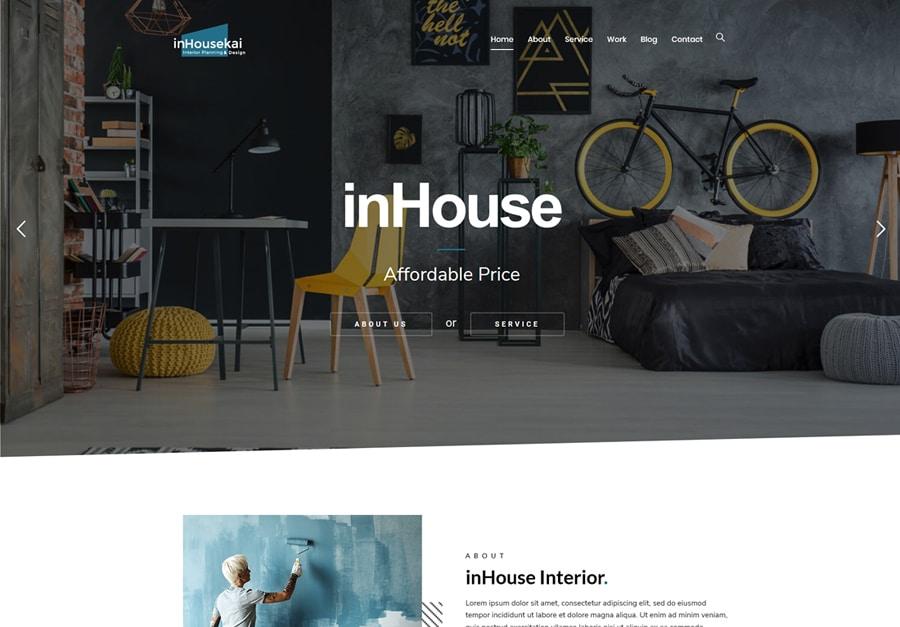 Inhousekai | Modern Design Interior WordPress Theme Website Template