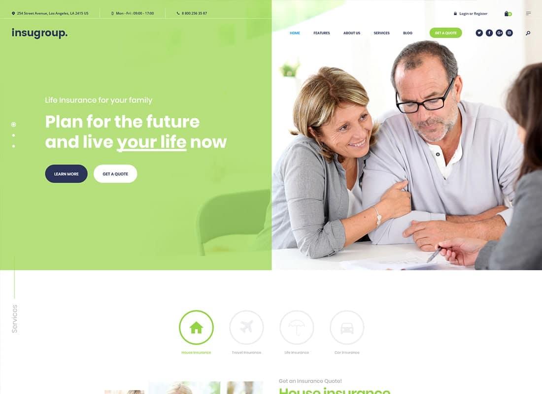 Insugroup | A Clean Insurance & Finance WordPress Theme   Website Template