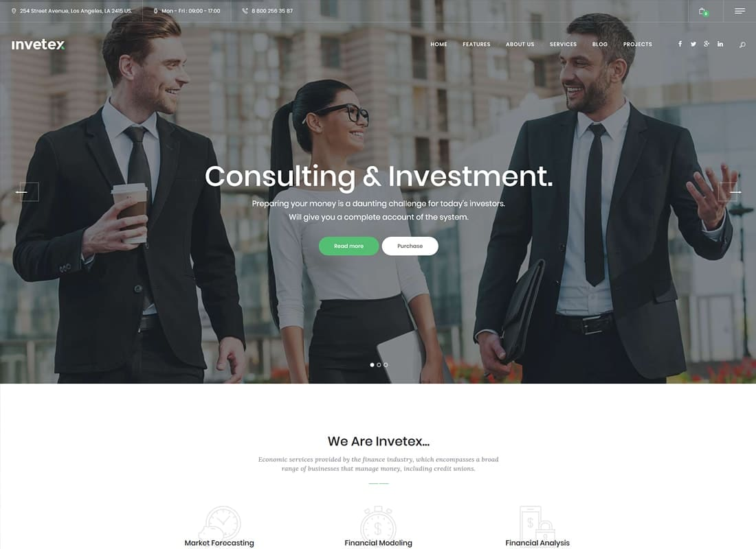 Invetex | Business Consulting & Investments WordPress Theme + RTL Website Template