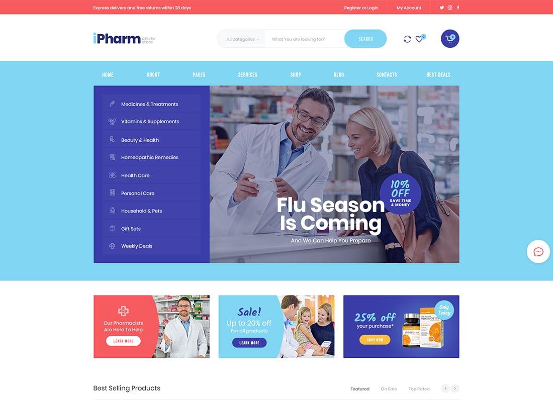 IPharm - Online Pharmacy & Medical WordPress Theme Website Template