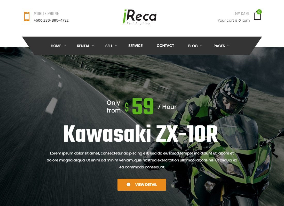 Ireca - Car Rental Boat, Bike, Vehicle, Calendar WordPress Theme Website Template