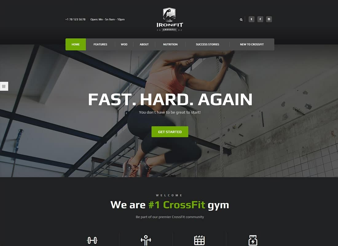 Ironfit | Fitness, Gym and Crossfit WordPress Theme  Website Template