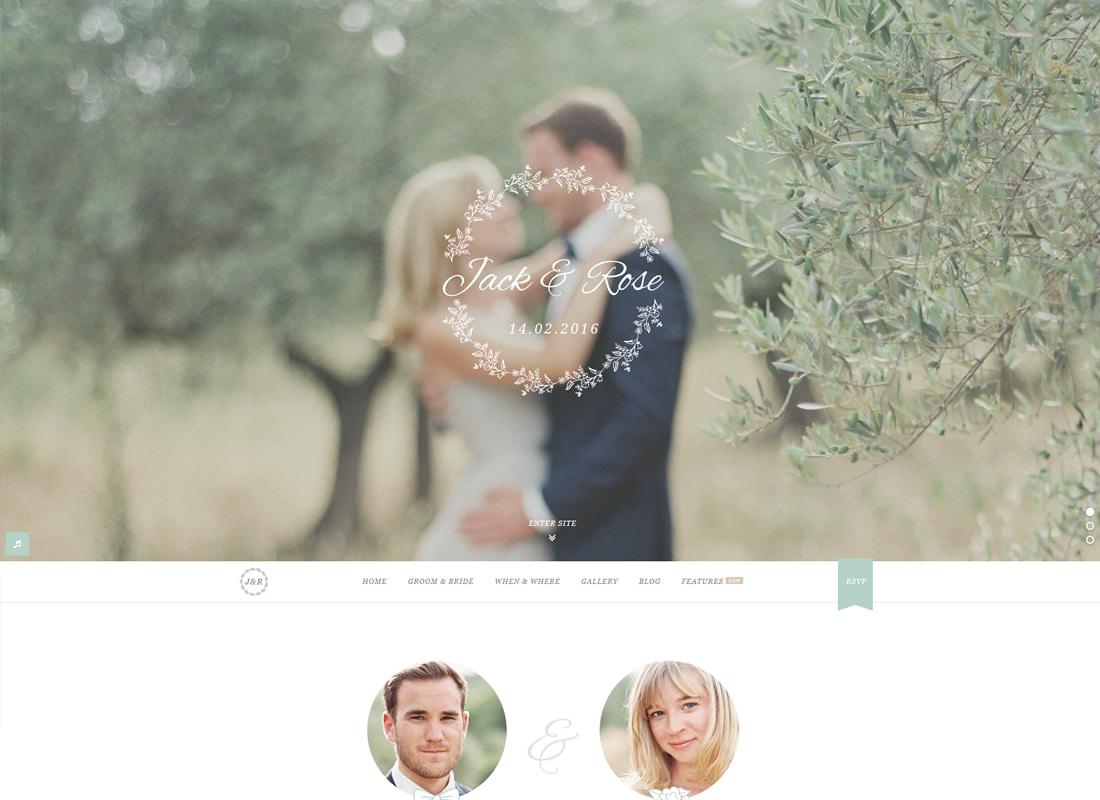 Jack & Rose - A Whimsical WordPress Wedding Theme Website Template