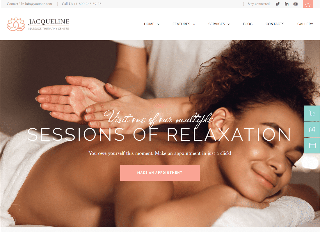 Jacqueline - Spa & Massage Salon Elementor Template Kit Website Template