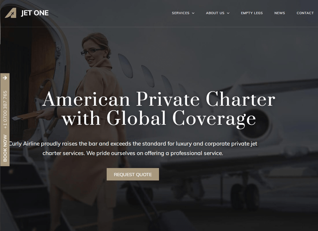 Jet One - Private Airline WordPress Theme Website Template