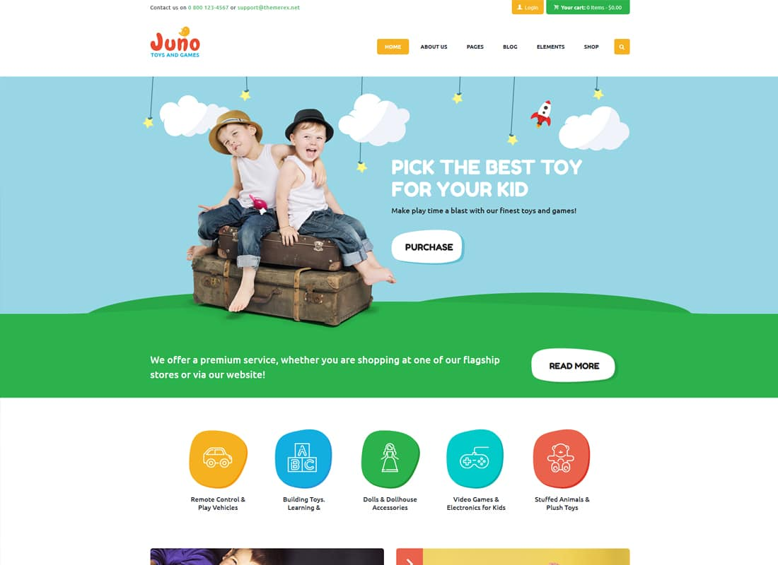 Juno | Kids Toys & Games Store WordPress Theme Website Template