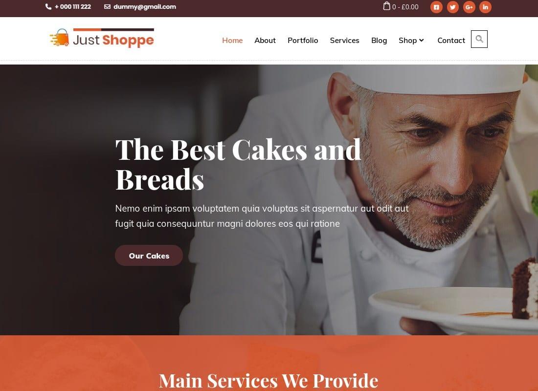 Cake Bakery WordPress Theme - Justshop Website Template