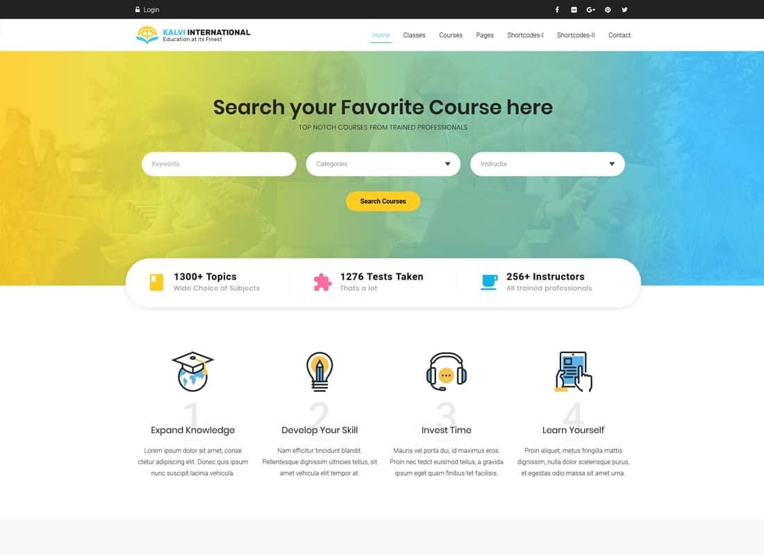 Kalvi Education   LMS Education Theme Website Template