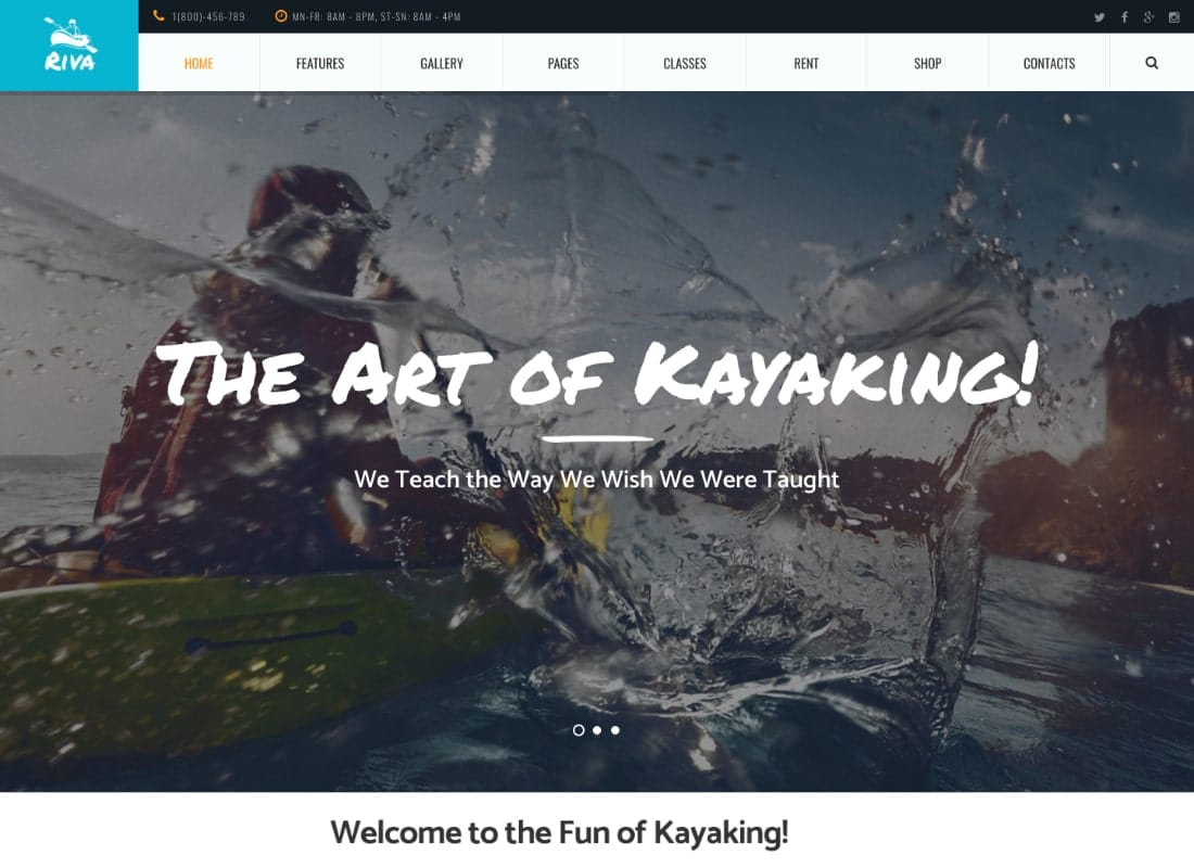Kayaking / Paddling / Water Sports & Outdoors WordPress Theme Website Template