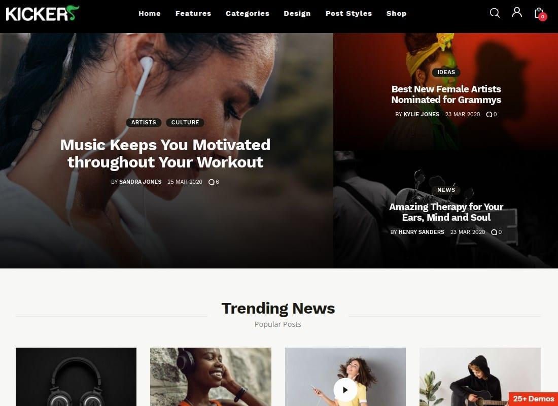 Kicker - Multipurpose Blog Magazine WordPress Theme Website Template