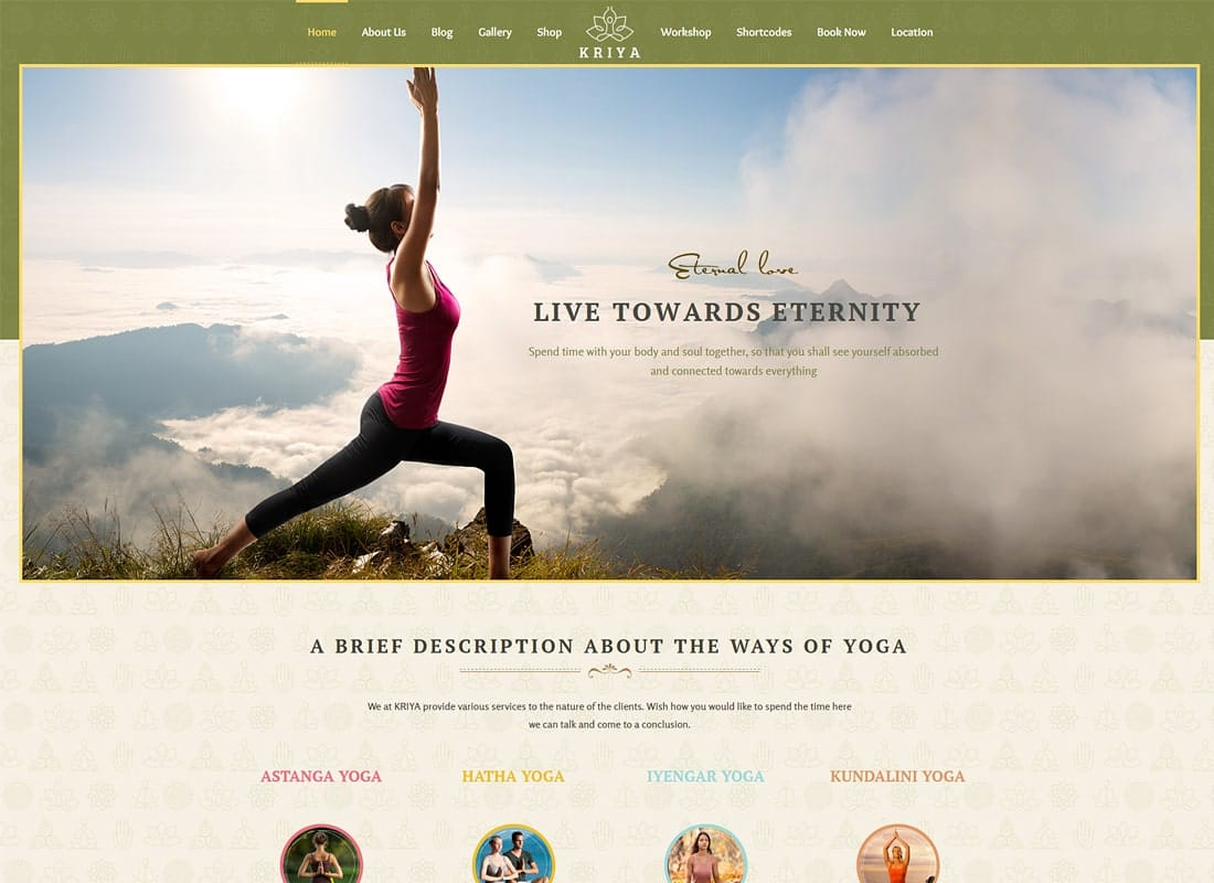 Kriya Yoga - Health & Yoga WordPress Theme Website Template