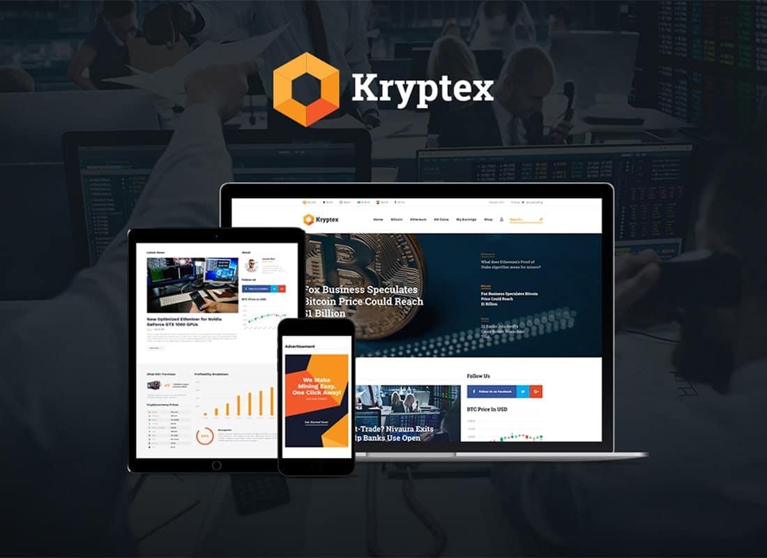 Cryptrex | Cryptocurrency & Mining WordPress Theme Website Template