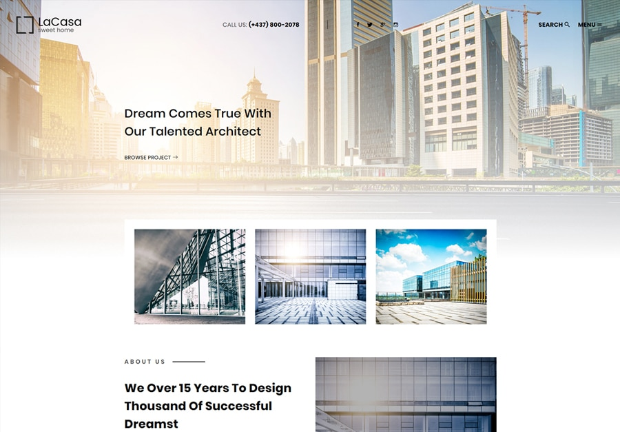 Lacasa | Interior & Exterior Decoration WordPress Theme Website Template