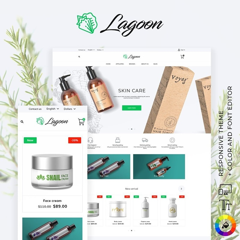 Lagoon Cosmetics Template Website Template