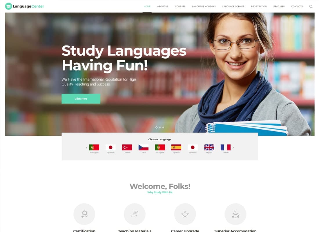 Language Center & Online School WordPress Theme   Website Template